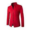 preiswerte Herren Polo Shirts-Herrn Alltag Chinoiserie Frühling / Winter Standard Blazer, Solide V-Ausschnitt / Ständer Langarm Modal Schwarz / Rote / Marineblau