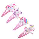 ieftine Accesorii-4pcs desen animat sclipici unicorn clips de păr coafuri drăguț animale de plastic tunsori clipuri pentru copii fată haine accesorii pentru păr