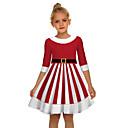 رخيصةأون أطقم ملابس البنات-فستان فوق الركبة نصف كم عيد الميلاد بابا نويل رياضي Active / حلو للفتيات أطفال