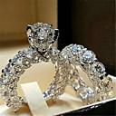 رخيصةأون خواتم-نسائي خاتم مكعب زركونيا 1PC أبيض فضي مطلي بالبلاتينيوم سبيكة أنيق مناسب للبس اليومي مجوهرات جميل