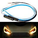 olcso HID és halogén izzók-2db 45cm-es univerzális autó drl led szalag rugalmas áramlási irányjelző lámpák automatikus angyal szemmel nappali menetjelző lámpa díszítő lámpák