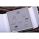 ieftine Becuri LED-Pentru femei Mov Negru Albastru Apă dulce Pearl Cercei Stud Simplu Modă Argintiu cercei Bijuterii Alb Pentru Zilnic Concediu 1set