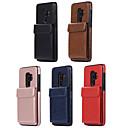 رخيصةأون حافظات / جرابات هواتف جالكسي S-غطاء من أجل Samsung Galaxy S9 / S9 Plus / S8 حامل البطاقات غطاء خلفي لون سادة جلد PU / TPU