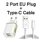 رخيصةأون شواحن USB-ضوء led eu 2-منفذ شاحن USB شحن سريع مع typec-c كابل لهواوي p20 / p30 الموالية / p20 لايت نوفا 3e 2 ثانية شرف 10 9 عرض 20 v20