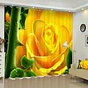 お買い得  窓回り-黄色の花デジタル印刷3dカーテン遮光カーテン高精度黒絹布高品質カーテン