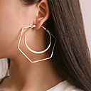 cheap Earrings-Women's Hoop Earrings Earrings Classic Lucky Simple Classic Trendy Fashion Elegant Earrings Jewelry Gold / Silver For Daily Holiday Club Bar Festival 1 Pair