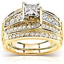 povoljno Prstenje za parove-Žene Prsten Kubični Zirconia 3pcs Zlato Pozlaćeni Geometric Shape Moda Dnevno Praznik Jewelry Geometrijski Csillag Cool