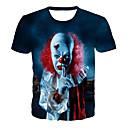 cheap Men's Tees & Tank Tops-Men's Daily Club Basic / Exaggerated T-shirt - 3D / Graphic / Skull Print Blue