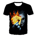 cheap Men's Tees & Tank Tops-Men's Daily Club Basic / Exaggerated T-shirt - 3D / Skull / Portrait Print Black