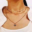 ieftine Lănțișoare Bărbătești-Pentru femei Coliere Layered Monedă Faţă Țigan Crom Auriu 35.8 cm Coliere Bijuterii Pentru Carnaval Concediu Festival