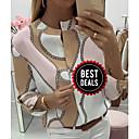 رخيصةأون أدوات الحمام-المرأة اليومية الاتحاد الأوروبي / الولايات المتحدة حجم تي شيرت - هندسية جولة الرقبة احمرار الوردي