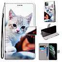 preiswerte iPhone Hüllen-Hülle Für Apple iPhone 11 / iPhone 11 Pro / iPhone 11 Pro Max Geldbeutel / Kreditkartenfächer / mit Halterung Ganzkörper-Gehäuse Katze PU-Leder / TPU
