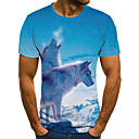 povoljno Muške jakne-Majica s rukavima Muškarci - Ulični šik / pretjeran Dnevno / Izlasci Geometrijski oblici / 3D / Životinja Drapirano / Print Plava
