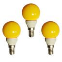 olcso Ablakápolók-3db 0.5 W LED gömbbúrás izzók 20 lm E14 G45 8 LED gyöngyök Dip LED Dekoratív Sárga 180-240 V