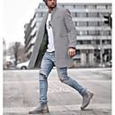 رخيصةأون جواكيت رجالي-رجالي مناسب للبس اليومي مقاس أوروبي / أمريكي عادية معطف, لون سادة شق الصدر علوي كم طويل بوليستر أسود / أزرق / رمادي / نحيل