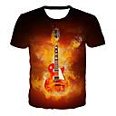 tanie Koszulki i tank topy męskie-T-shirt Męskie Podstawowy / Rock, Nadruk Geometric Shape / 3D / Graficzny Czerwony