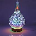 olcso párásítók-3d tűzijáték üveg váza alakú légnedvesítő led éjszakai fény aromával illóolaj diffúzor ködkészítő ultrahangos párásítóval