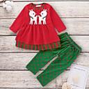 ieftine Cercei-Bebelus Fete Șic Stradă Buline / Crăciun Manșon Lung Regular Bumbac Set Îmbrăcăminte Roșu-aprins / Copil