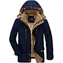 povoljno Men's Winter Coats-Muškarci Dnevno Jesen zima Dug Jakna, Jednobojni S kapuljačom Dugih rukava Poliester Vojska Green / Braon / Navy Plava