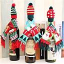 ieftine Produse de Bar-Decorațiuni de Crăciun pentru acasă Moș Crăciun sticla de vin coperta haine set pălărie eșarfă masă decor 2019 navidad cadouri de Anul Nou