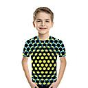 tanie Koszulki i tank topy męskie-Dzieci Brzdąc Dla chłopców Aktywny Podstawowy Geometric Shape Nadruk Kolorowy blok Nadruk Krótki rękaw T-shirt Fuksja