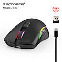 povoljno Miševi-ZERODATE T26RGB Bežični 2.4G Optical Ured za miš / Punjenje miš RGB svjetlo 2400 dpi 3 Podesive DPI razine 7 pcs ključevi