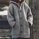 povoljno Smart Lights-Žene Jednobojni Dugih rukava Veći konfekcijski brojevi Kardigan Džemper od džempera, S kapuljačom Proljeće / Jesen Crn / Plava / Djetelina S / M / L