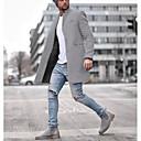 povoljno Men's Winter Coats-Muškarci Dnevno Veličina EU / SAD Normalne dužine Kaput, Jednobojni Klasični rever Dugih rukava Poliester Crn / Plava / Sive boje / Slim