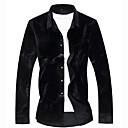 tanie Męskie koszule-Koszula Męskie Moda miejska / Elegancja, Nadruk Geometric Shape / Kolorowy blok Czarny