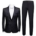 povoljno Muški sakoi i odijela-Muškarci odijela, Geometrijski oblici Maramasti rever Poliester Crn / Lila-roza / Obala