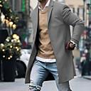 povoljno Muške jakne-Muškarci Dnevno Jesen zima Normalne dužine Kaput, Jednobojni Odbačenost Dugih rukava Poliester Crn / Lila-roza / Navy Plava
