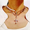 ieftine Lănțișoare Bărbătești-Pentru femei Coliere Layered Σταυρός La modă Modă Imitație de Perle Crom Auriu 37.3 cm Coliere Bijuterii 1 buc Pentru Carnaval Stradă Festival