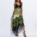 رخيصةأون تزيين المنزل-فستان نسائي ثوب ضيق أنيق طباعة - دانتيل غير متماثل هندسي مع حمالة