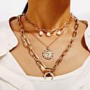 ieftine Lănțișoare Bărbătești-Pentru femei Coliere Layered MOON Faţă Țigan Imitație de Perle Crom Auriu 35.9 cm Coliere Bijuterii Pentru Carnaval Concediu Festival