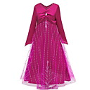 Недорогие Платья девушки-Дети Девочки Однотонный Платье Пурпурный