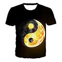 povoljno Muške majice i potkošulje-Majica s rukavima Muškarci - Osnovni / pretjeran Dnevno / Klub Color block / 3D / Grafika Print Crn