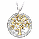 povoljno Modne ogrlice-Žene Kubični Zirconia Ogrlice s privjeskom Geometrijski Stablo života Moda Glina Srebro 45+5 cm Ogrlice Jewelry 1pc Za Dnevno Festival