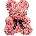 ieftine Breloage-25cm / 40cm înălțime simulare trandafir ursulet cuplu ursulet papusa jucărie decorare de Crăciun eternă floare cadou romantic ziua de Valentin