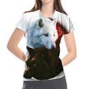 tanie Koszulki i tank topy męskie-T-shirt Damskie Podstawowy / Przesadny, Nadruk Kolorowy blok / 3D / Zwierzę Wilk / Fantastyczne zwierzęta Biały