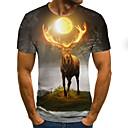 povoljno Muške majice i potkošulje-Majica s rukavima Muškarci - Ulični šik / Punk & Gotika Izlasci / Klub Color block / 3D / Životinja Print Pahulja / Fantastične zvijeri Sive boje