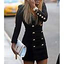 رخيصةأون ساعات الكوارتز-فستان نسائي ثوب ضيق قصير جداً لون سادة V رقبة