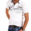 povoljno Muške košulje-Veličina EU / SAD Majica s rukavima Muškarci Jednobojni Kragna košulje Slim, Print Crn