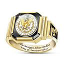 رخيصةأون خواتم-رجالي خاتم 1PC ذهبي مطلية بالذهب دائري أنيق هدية مناسب للبس اليومي مجوهرات كلاسيكي وردة كوول