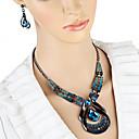 povoljno Komplet nakita-Žene Viseće naušnice Choker oglice Ogrlice s privjeskom 3D Jedinstven dizajn Vintage Naušnice Jewelry Plava Za Praznik 1set