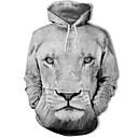 povoljno Muške jakne-Muškarci Veći konfekcijski brojevi Aktivan Dugih rukava Hoodie - Print / 3D S kapuljačom / Zima