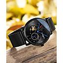 ieftine Ceasuri Bărbați-Carnival Bărbați ceas mecanic Mecanism automat țesut Oțel inoxidabil Negru / Argint 30 m Rezistent la Apă Gravură scobită Analog Lux Casual - Negru / Albastru Negru Argintiu+albastru