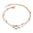 ieftine Brățări-Pentru femei Zirconiu Cubic Brățări cu Lanț & Legături Clasic Floare Stilat Oțel titan Bijuterii brățară Roz auriu / Argintiu Pentru Cadou Purtare Zilnică