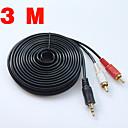 ieftine Audio & Video-nou cablu audio 3,3 ft / 3m 3,5 mufă la 2 rca mascul la bărbat 2rca până la 3,5 mm divizor audio stereo pentru cablu auto