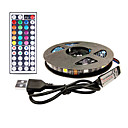 ieftine Benzi Lumină LED-3m tv bandă de fundal lumină benzi cu leduri flexibile benzi rgb benzi 90 leds smd5050 10mm 1 44keys telecomanda 1 set impermeabil multi culoare / usb / autoadeziv 5 v