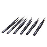 WLXY WL-ESD6PC Durable Steel Tweezers Set (6 PCS)